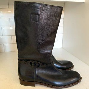 💝Gucci Black Leather Riding Style Boots 43 Men's